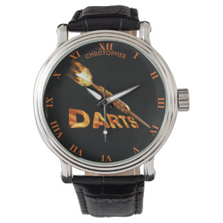 Darts With Golden Dart In Flames With Stylish Text Wrist Watch