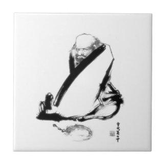 Daruma zen meditation small square tile
