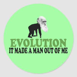 Darwin evolution classic round sticker