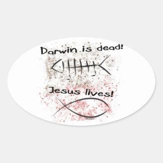 Darwin Is Dead - Jesus Lives Oval Sticker