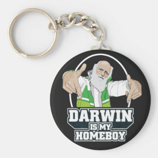 Darwin Is My Homeboy (Full Color) Basic Round Button Key Ring