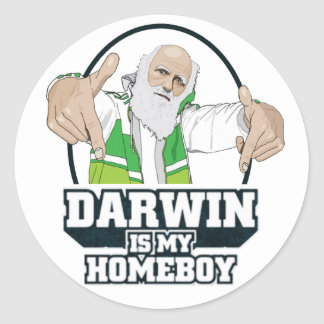 Darwin Is My Homeboy (Full Color) Classic Round Sticker