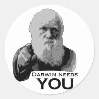 Darwin Needs You! Round Stickers