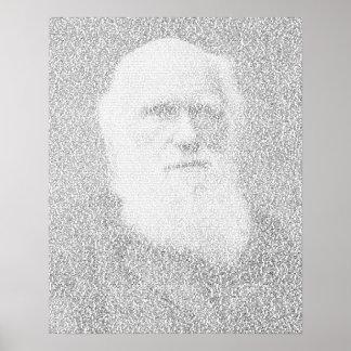 Darwin portrait made of 'Origin of Species' text Poster