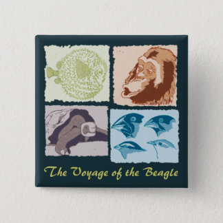 Darwin, The Voyage of the Beagle 15 Cm Square Badge