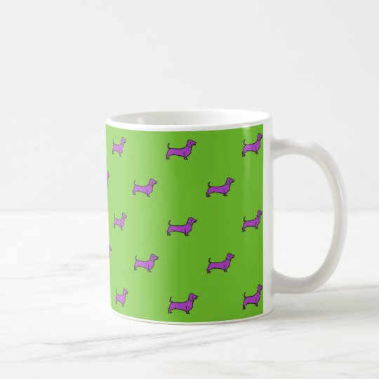 Daschund Mug - Tiled Purple On Green