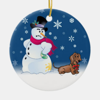 Daschund puppy and Snowman Christmas Ornament