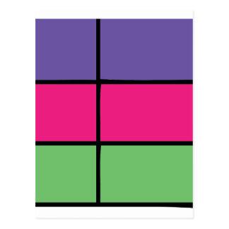 """DASCK_TOP"" Purple, Pink, & Green Square Patter Postcard"