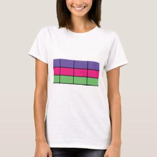 """DASCK_TOP"" Purple, Pink, & Green Square Patter T-Shirt"
