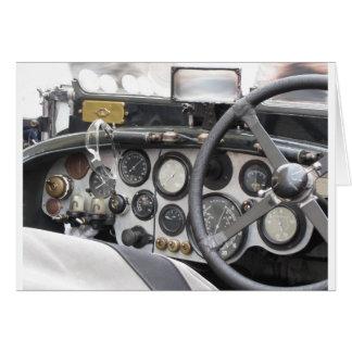 Dashboard of british classic sport car card