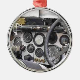 Dashboard of british classic sport car Silver-Colored round decoration