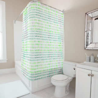 Dashed in Green Shower Curtain
