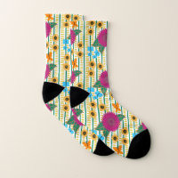 Dashed Lined Butterflies with Flowers Socks