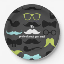 Dashing Little Man Moustache Party Paper Plate