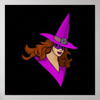 Dashing Purple Witch Poster