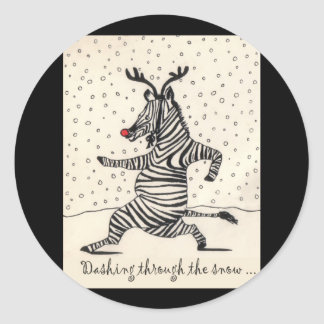 Dashing through the snow classic round sticker