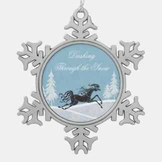 Dashing Through the Snow Horse Christmas Ornament