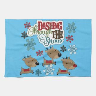Dashing Throw The Snow Tea Towel