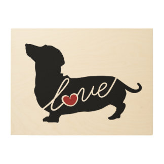 Dashund Wiener Dog Love Wood Wall Decor