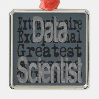 Data Scientist Extraordinaire Silver-Colored Square Decoration