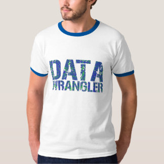 DATA WRANGLER ringer T-shirt w. blue/green design