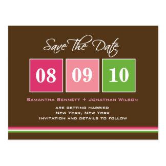 Date Blocks - Fuchsia Green Postcard