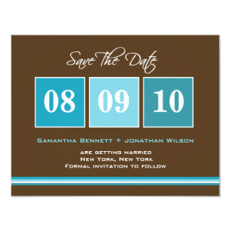 Date Blocks Save The Date Card - Turquoise 11 Cm X 14 Cm Invitation Card