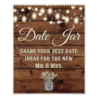 Date Jar, Wedding Sign, Wedding Decor, Rustic Photo Art