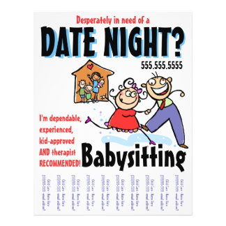 Date Night Babysitting Child Care 21.5 Cm X 28 Cm Flyer