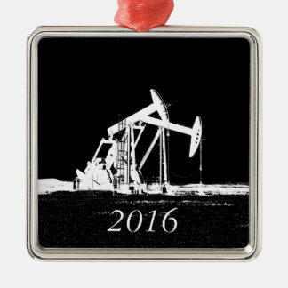 Dated (2016) Dual Oil Well Pumping Unit Silver-Colored Square Decoration