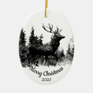 Dated Christmas Custom Stag Deer Animal Art Christmas Ornament