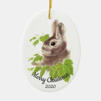 Dated Christmas Custom Watercolor Bunny Rabbit Christmas Ornament