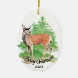 Dated Christmas Custom Watercolor Deer Animal Christmas Ornament