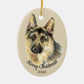 Dated Christmas Custom Watercolor German Shepherd Christmas Ornament