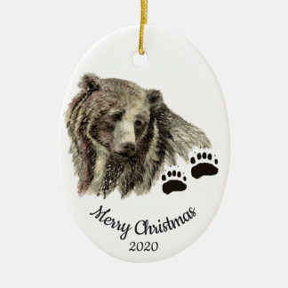 Dated Christmas Custom Watercolor Grizzly Bears Christmas Ornament