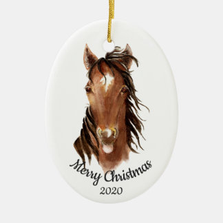 Dated Christmas Custom Watercolor Horse Attitude Christmas Ornament