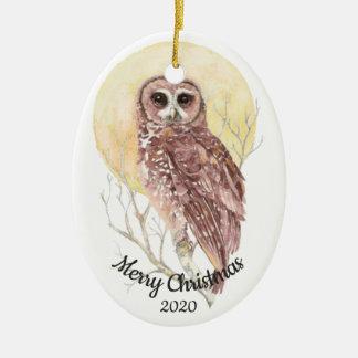 Dated Christmas Custom Watercolor Moon Owl Bird Christmas Ornament