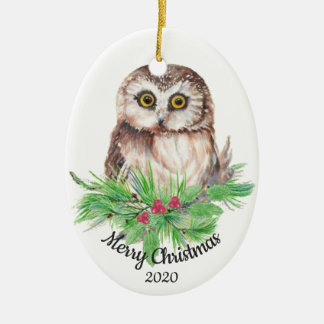 Dated Christmas Custom Watercolor Owl Bird Christmas Ornament