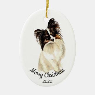 Dated Christmas Custom Watercolor Papillon Dog Christmas Ornament