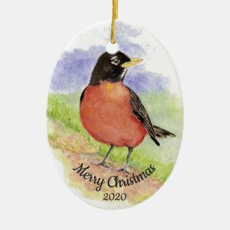 Dated Christmas Custom Watercolor Robin Bird Christmas Ornament
