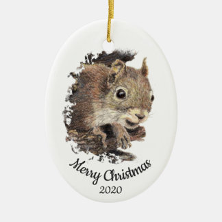 Dated Christmas Custom Watercolor Squirrel Animal Christmas Ornament