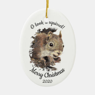 Dated Christmas Custom Watercolor Squirrel Quote Christmas Ornament