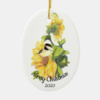 Dated Christmas Custom Watercolor Sunflower Bird Christmas Ornament