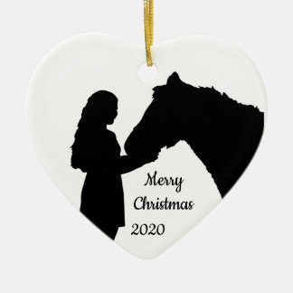 Dated Christmas Girl & Her Horse Love Silhouette Christmas Ornament