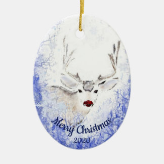 Dated Christmas Reindeer Red-Nosed Animal Fun Christmas Ornament