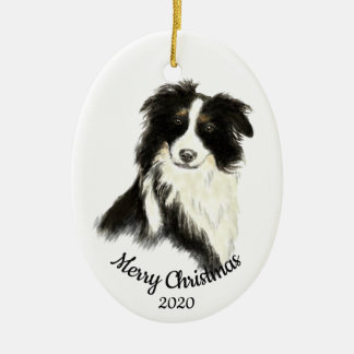 Dated Christmas Watercolor Border Collie Dog Christmas Ornament
