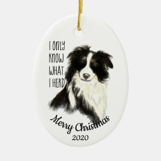 Dated Christmas Watercolor Border Collie Dog Quote Christmas Ornament
