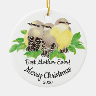 Dated Custom Watercolor Mother Quote Birds Christmas Ornament