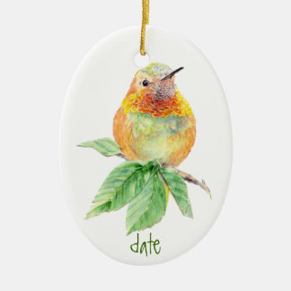 Dated Custom Watercolor Rufous Hummingbird, Bird Christmas Ornament