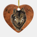 Dated Custom, Wolf, Wolves & Tracks Animal Ceramic Heart Decoration